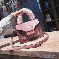 X63910A new fashion women fake fur handle sude ladies handbags