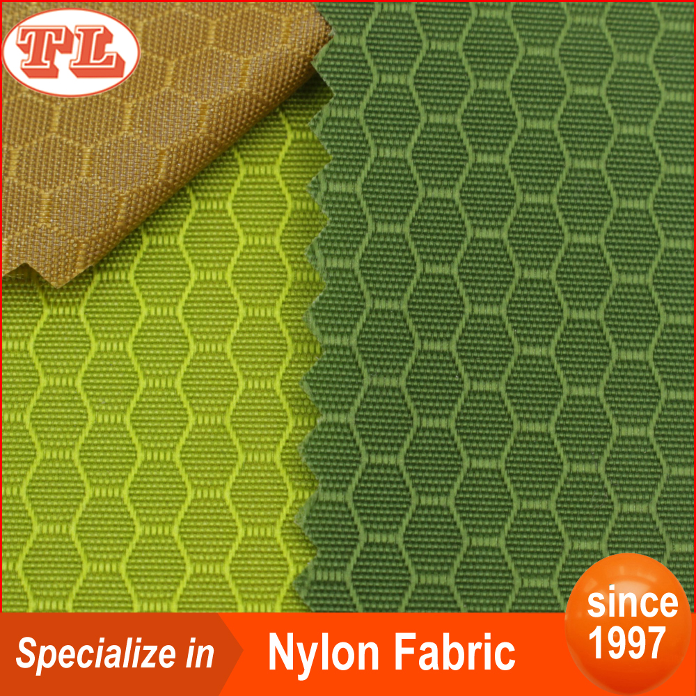 pu coated 210D Hexagon football pattern ripstop nylon fabric