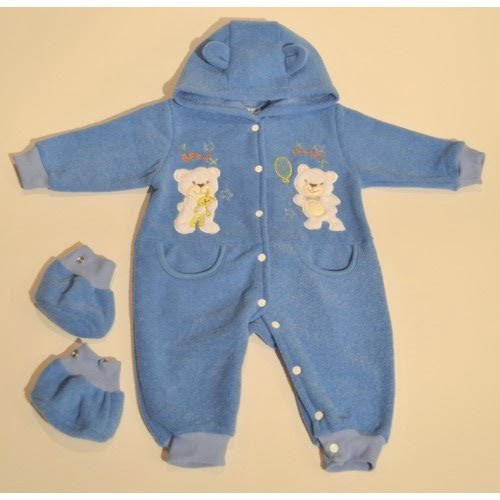 winter rompers with baby-shoes and ear hoodie