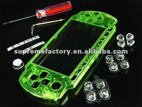for PSP 3000 Bling Faceplate CRYSTAL GREEN + Seawalker Bag