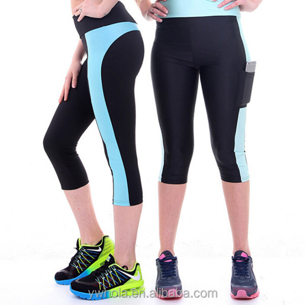 Retail Custom fashion Plus Size Breathable Slim Capri Workout Pants With Side Pockets Fitness Yoga Pants