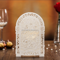 wedding invitation card+blank insert+envelope+seal pop up laser cut wedding invitation cw5122