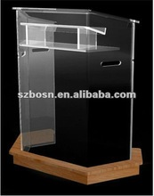 Acrylic Lectern with a wooden plinth,Perspex Podium & Rostrum,Lucite Dais & Pulpit