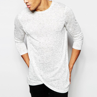 Apperal Factory Price Wholesale White Plain Men's Knitted Longline Long Sleeve T-Shirt
