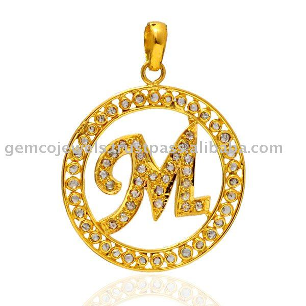 18k Yellow Gold Diamond Pendant Jewelry, Letter Pendant Jewelry, Wholesale Supplier Letter Pendant Jewelry