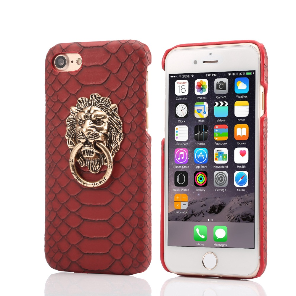 New leather back cover for iphone 6plus lion head leather case for iphone 6 leather back cover