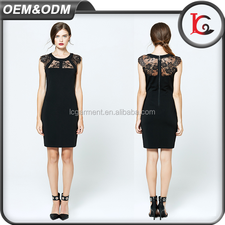 latest products formal patterns black lace sexy one piece dress summer ladies casual dresses pictures