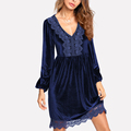 Alibaba new products V neck velvet night dresses