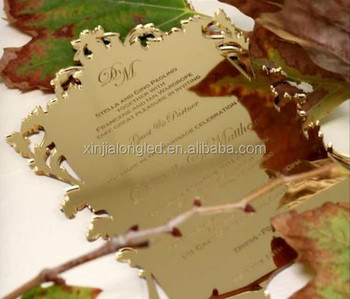 Top Grade Luxury Acrylic Wedding Card Invitation,Acrylic Laser Engraving Mirror Invitations Card