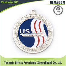 Professional metal award sport basketball medal with ribbon