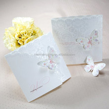 2015 High quality pure white butterful wedding invitation card paper design