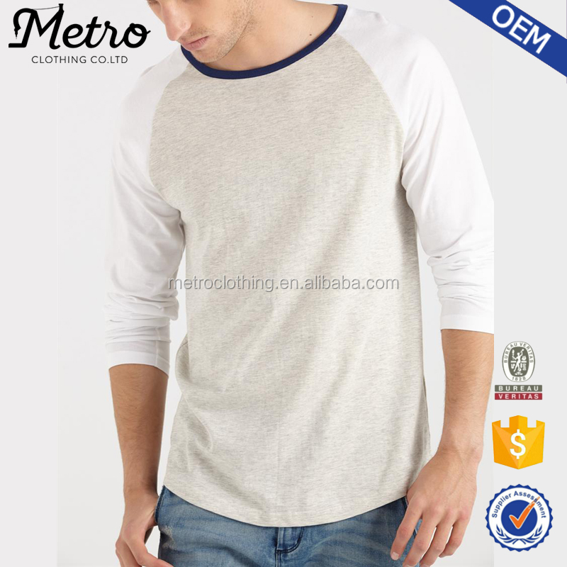 OEM Service Grey And White Blank Long Sleeve T-shirt For Men