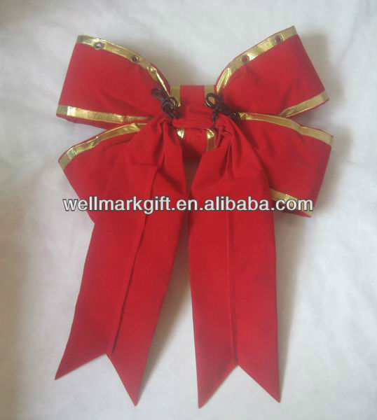 24 inch Red Giant 3D Structural Christmas Holiday Building Hanging Decoration Velvet Bow