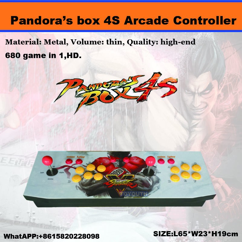 2017 Arcade Double Joystick game consoles with jamma multi games Pandora box 4s /680 in 1 game pcb board controller