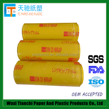 1000M transparent self adhesive pvc plastic film roll for food