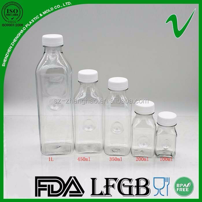Wholesale custom 500ml PET clear empty beverage square plastic bottle for juice