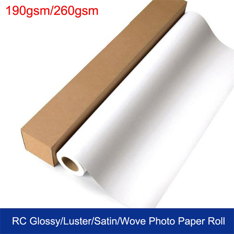 Premium 190g 260g rc glossy satin wove silky photo paper roll for inkjet printer
