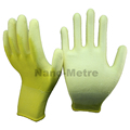 NMSAFETY 13 gauge knitted yellow nylon liner coated white PU on palm gloves for light industry