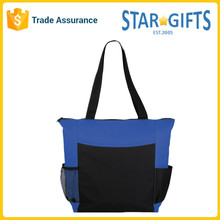 High Quality Blue Custom Polyester Women Tote Grocery Shopping Bag With Long Hands