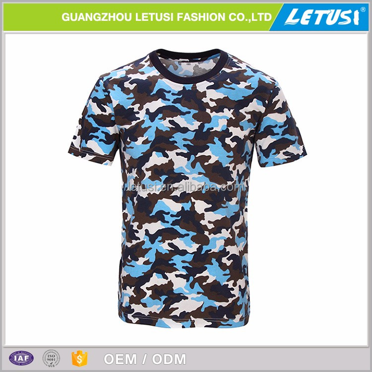 Blue Camouflage T-shirt Clothing Cotton Military Camouflage Fabric Hunting Tee Shirt