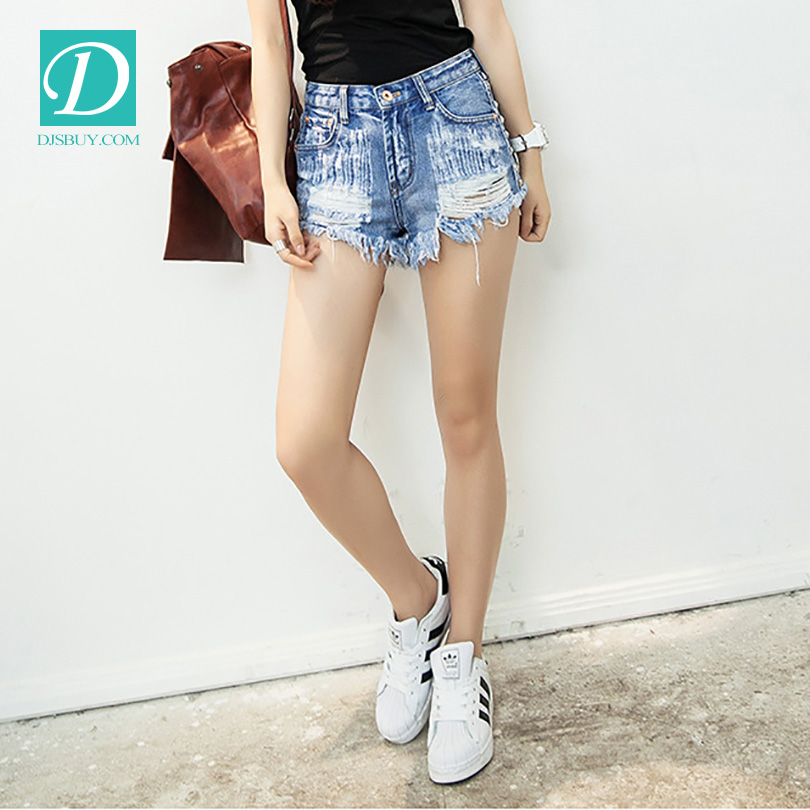 Women Fashion Brand Vintage Tassel Rivet Ripped Loose High Waisted Short Jeans Punk Sexy Hot Woman Denim Shorts