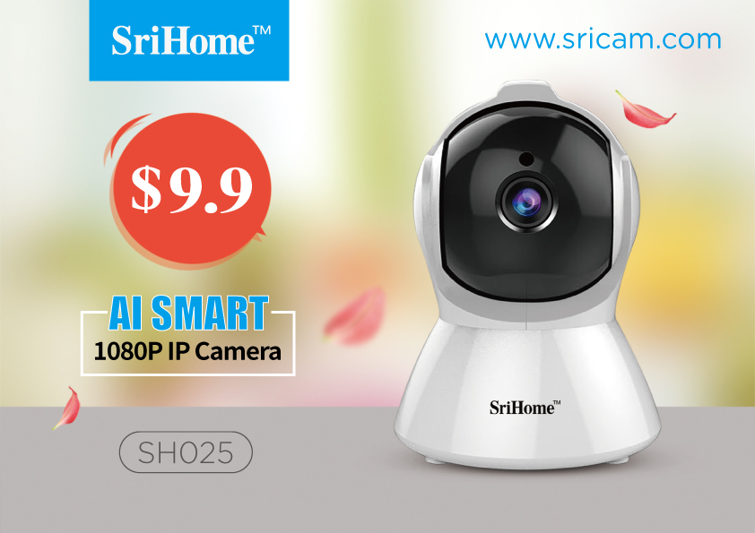 SriHome Indoor SH025 mini auto tracking body alarm Camera night vision 1080P wireless camera