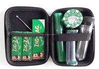"""High Roller"" Smoking Kit in Zip Case with Poker Chip Grinder, Rolling Machine & Zig Zag Papers, Cache Tub"