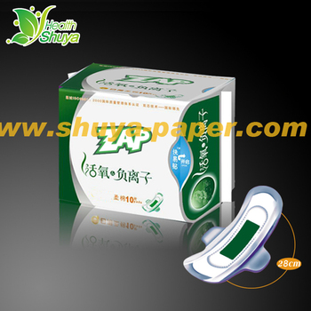 Disposable organic cotton sanitary napkin with negative ion with anion strip