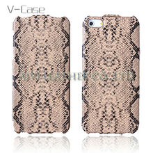 Vertical ultrathin snake leather lagging case for Apple iphone5