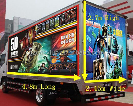 High Level Hydraulic/Electric 7D Simulator Mobile 7D Cinema on Truck/Trailer
