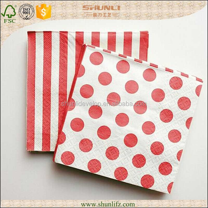 Hot sale 100% virgin wood pulp Dyeing paper napkins printed gold foil logo