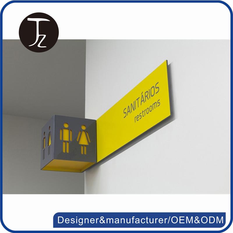 Customized stainless steel acrylic door sign restroom sign for hotel