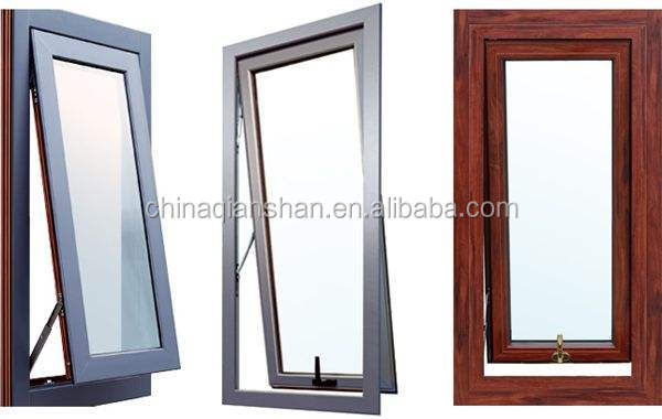 insulated 125mm wood colour Aluminium double or triple hollow frosted glass awning window top hung window