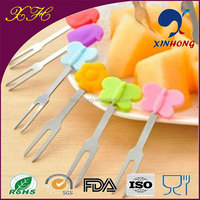 High quality Halloween party candy colors stainless steel silicone fruit forks/plastic fruit stick