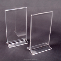 T-shaped tabletop clear acrylic file paperweight / menu display stand / Acrylic insert sign holder with free standing