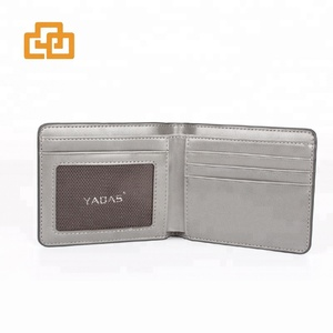 Super slim wallet smart short minimalist RFID mens leather wallet