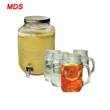 Mason jar glass beverage drink dispenser with tap and metal lid