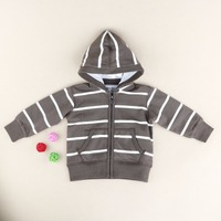 Toddler Long Sleeve Hoodies Zip-up Jacket Baby Girls' Stripe Reversible Hooded Jacket