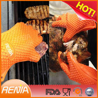 RENJIA heat resistant silicone rubber gloves ove glove long heatproof gloves