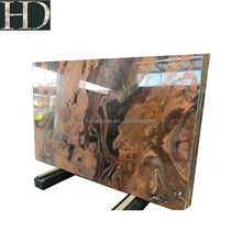 Natural Luxury Red Semi Precious Stone Polished Black and Gold Marble Slab for Floor or Wall