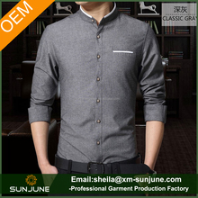 Fashion style OEM men chinese collar shirts