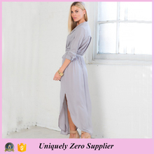 2016 New Design Fancy Loose Long Sleeve Maxi Dress With Belt and Pockets