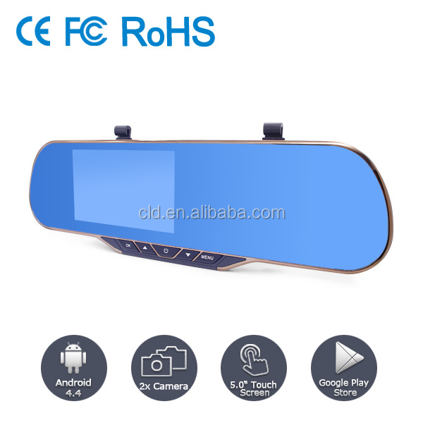 Android system 5.0 Touch Screen full hd 1080P rearview mirror car dvr with GPS