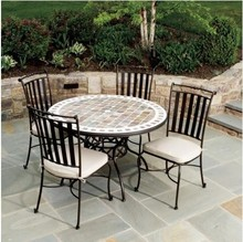 Cast Iron Patio Outdoor Furniture Garden Round Dining Table Set