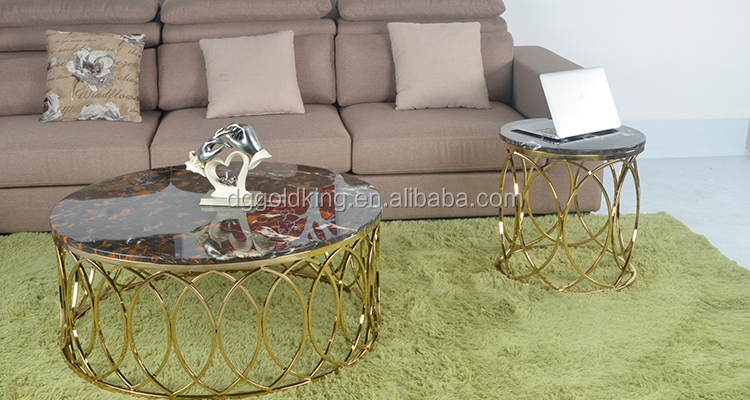 elegant gols coffee side table with marble top
