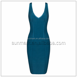2016 New Arrival Rayon Knitted Sexy Bandage Dress Backless Party Dress