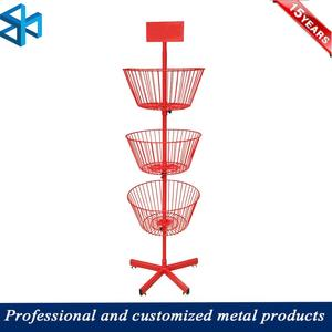 Supermarket Round 3 Tiers Display Shelf Stand With Basket For Fried Instant Noodles