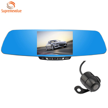 Q9 1080P HD Rear View Mirror Car Camera DVR Rearview Car Black Box Dual Cam With 5'' Screen and G-Sensor