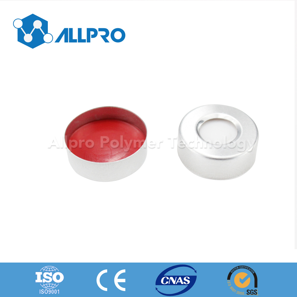 aluminium cap with Red PTFE/White silicone septa for crimp headspace vial