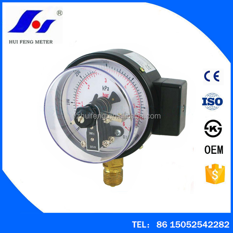Gaseous And Liquid Media Electric Contact Pressure Gauge 0-600kPa/6bar